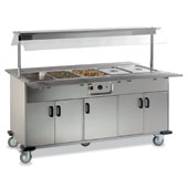 Buffet ROCAM EROS 4 BM IN heated  by mechanical thermostat , upper sneezeguard, 2 folding tray-holders, entirely made of stainless steel, doors, light