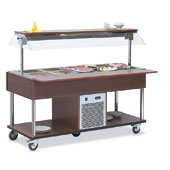 Buffet complements ROCAM EROS 6 R/M static refrigeration and digital thermostat, mobile upper sneezeguard, entirely made of stainless steeLED lighting