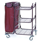 Housekeeping trolley built in sections with 3 shelfs, with linen bag, steel, 550*850*1050 mm.