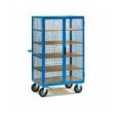 Warehouse trolley, platform, steel tubing frame, 5 shelfs from plywood, 2 doors, sides from metal mesh, steel, polymer coloring, 550*700