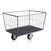 Housekeeping trolley, 490l., mesh box and  tube boarder, stainless steel, 1250*750*830 mm.