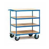 Warehouse trolley, steel tubing frame, 4 shelfs from plywood, steel, polymer coloring, 550*800*1100 mm.