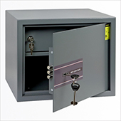 Safe with additional internal box, key locking mechanism, steel, 350*250*250 mm.