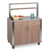Buffet ROCAM ATHENA SAL 2/AL, 2 drawers with inner adjustable dividers, 2 doors, stainless steel top, upper part with 2 laminated wood shelves, lamina