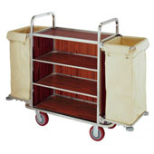 Housekeeping trolley with 4 shelfs, with 2 linen bags, Medium Density Fibreboard/stainless steel, 1100*550*1100 mm.