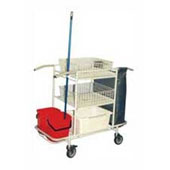 Trolley for cleaning, 3 baskets, bag, 2 pails, curtains, steel, polymer coloring, 550*1050*1100 mm.