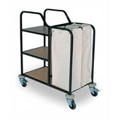 Housekeeping trolley with 3 shelfs Medium Density Fibreboard, with linen bag, handles, stainless steel, 550*800*1100 mm.