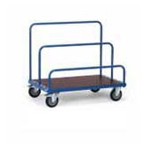 Platform trolley for warehouse, steel tubing frame, bottom from plywood, 3 handrails, steel, polymer coloring, 550*1000*900 mm.