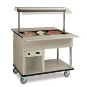 Buffet complements ROCAM EROS 3 R/F static refrigeration and digital thermostat, upper sneezeguard, entirely made of stainless steel, lighting with ne