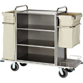 Housekeeping trolley with 4 shelfs, with shelf for pails, 2 bags for linen, stainless steel, 550*1400*1300 mm.