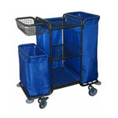 Housekeeping trolley with 3 shelfs, with linen bag, with basket in case, shelf for pails, steel, 550*1030*1100 mm.
