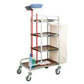 Housekeeping trolley with 3 shelfs, with shelf for pails from chipboard, bag for linen, with 2 fixators for binders and brooms, stainless steel, 550*8