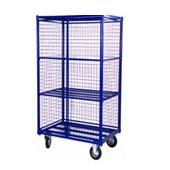 Multi-level trolley for housmaids, 2 doors, 3 shelfs, steel, polymer coloring, 550*800*1700 mm.