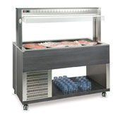 Buffet complements ROCAM ATHENA 3 R/M refrigerated regulated by digital thermostat, mobile upper sneezeguard, stainless steel pans, LED lighting
