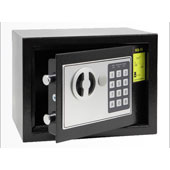 Hotel safe with electronic and key locking mechanism, black, 170 * 230 * 170 mm.