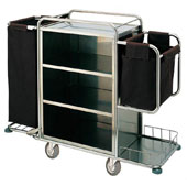 Housekeeping trolley with 4 shelfs, with shelf for pails, 2 bags for linen, with sides, with lifting bracket, stainless steel, 550*1400*1300 mm.