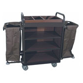 Housekeeping trolley with 4 shelfs Medium Density Fibreboard, 2 bags for linen, steel, 550*1400*1300 mm.