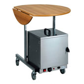 Round room service trolley, 3 panels, Medium Density Fibreboard, wulnut, 920*800 mm.
