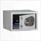 Hotel safe with electronic and key locking mechanism, gray, 260 * 230 * 170 mm.