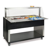 Buffet complements ROCAM ATHENA 3 BM/S heated  with digital thermostat, sneezeguard with frontal opening system, stainless steel pans, tray holder, li