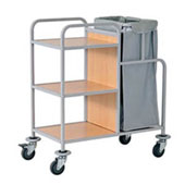 Housekeeping trolley with 3 shelfs Medium Density Fibreboard, bag for linen, steel, 550*900*1100 mm.