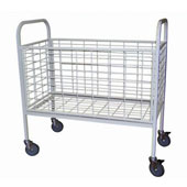 Housekeeping trolley, steel tubing structure, gurney, mesh, steel, polymer cover, white, 550*800*950 mm.