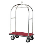 Luggage trolley with coat hanger rail, metal, red base, chrome frame, 960*590*1800 mm.