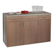 Waiter station ROCAM ALKOR 3 B, 3 drawers with inner dividers, 3 doors, aluminium-look details, castors, laminated chipboard, 1424*510*980 mm.