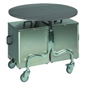 Room service trolley ROCAM PLEIADI F, chrome tube, foldable table from laminate, carry up 2 thermoboxes, steel, chrome, 546*635*770