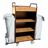 Housekeeping trolley with 4 shelfs Medium Density Fibreboard, 2 bags for linen, stainless steel, 550*1400*1300 mm.
