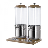 Beverage dispenser, 2 containers, stand in wood, stainless steel, 450*350*560 mm.