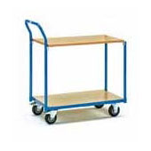 Warehouse trolley, steel tubing frame, 2 shelfs from plywood, steel, polymer coloring, 550*800*900 mm.