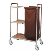 Housekeeping trolley with 3 shelfs from Medium Density Fibreboard, with linen bag, stainless steel, 550*900*1000 mm.