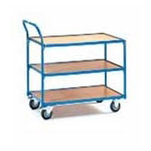 Warehouse trolley, steel tubing frame, 3 shelfs from plywood, steel, polymer coloring, 550*800*900 mm.