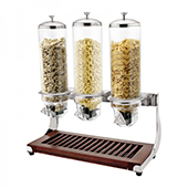 Cereal dispenser, 3 containers, 4l, wooden/polycarbonate, 590*275*650 mm.