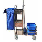 Trolley for cleaning, 2 baskets, top with border, bag, 2 pails, mop stand, stainless steel, 400*800*1100 mm.