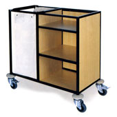 Housekeeping trolley with 3 shelfs Medium Density Fibreboard, bag for linen, stainless steel, 550*800*1100 mm.