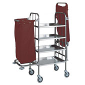 Housekeeping trolley with 4 shelfs, с 2 shelfмand for pails, with 2 bags, stainless steel, 550*1400*1300 mm.