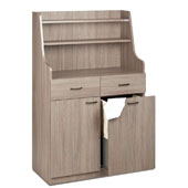 Waiter station ROCAM PERSEO A/T, 2 drawers with inner dividers, door, 3 drawers, hopper on rails , castors, laminated chipboard, 948*470*1508 mm.