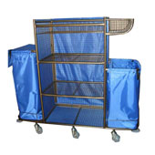 Housekeeping trolley with 4 shelfs, with linen bag, basket in case, shelf for pails, steel, 550*1300*1400 mm.