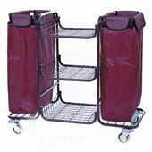 Housekeeping trolley built in sections with 3 shelfs, with 2 linen bags 135l, shelf for  vacuum cleaner and pails, steel, 550*1150*1050 mm.