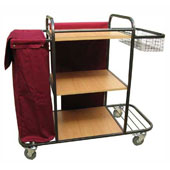 Housekeeping trolley with 3 shelfs Medium Density Fibreboard, with linen bag,basket, shelf for pails, steel, 550*1030*1100 mm.