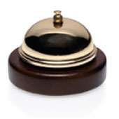Reception bell, with wooden base, gold, d 90 mm.