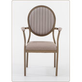 Chair Burgess Salon 95/10А, aluminium frame, seat fabric and oval back, armrests, aluminium, 610*600*960 mm
