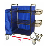 Housekeeping trolley with 3 shelfs, with linen bag, with 2 baskets, shelf for pails, steel, 550*1300*1300 mm.