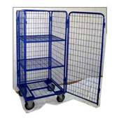Multi-level trolley for housmaids, steel tubing structure, door, 3 shelfs, steel, polymer coloring, 550*700*1550 mm.