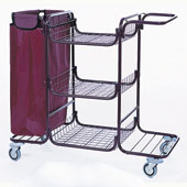 Housekeeping trolley built in sections with 3 shelfs, with linen bag, shelf for vacuum cleaner and pails, steel, 550*1150*1050 mm.