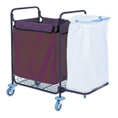 Housekeeping trolley built in sections, 2 bags, shelf for vacuum cleaner and pails, steel, 550*1100*1050 mm.