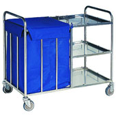 Housekeeping trolley with 3 shelfs с бортом, with linen bag, stainless steel, 550*900*950 mm.