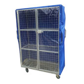 Multi-level trolley for housmaids, 2 doors, 3 shelfs, case, steel, polymer coloring, 470*900*1600 mm.